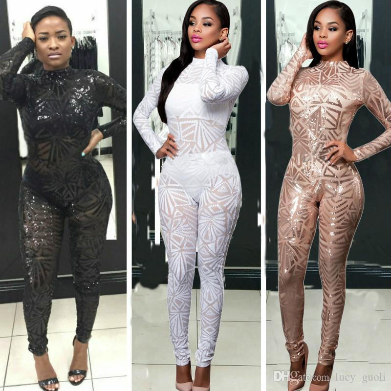 1b6a313661 2019 2017 New Autumn Women Black Sequined Jumpsuit Mesh See Through Bodysuit  Fashion Long Sleeve White Club Sexy Jumpsuits And Rompers Playsuit From ...