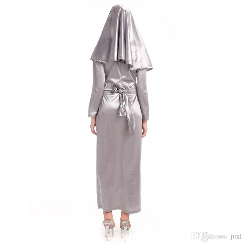 2018 New Adults Grey Priest Nun Sister Costume Women Lady Cosplay Costumes Halloween Carnival Party Fancy Dress Decoration