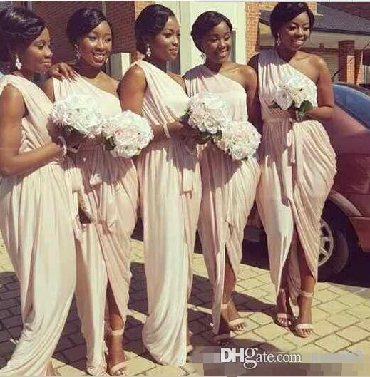 2017 Pale Dusty Pink One Shoulder Long Country Bridesmaid Dresses
