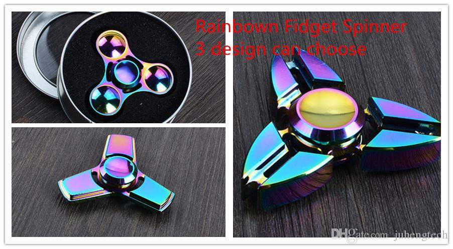 fidget spinner designs. cool 2017 new design rainbow fidget spinner colorful hand edc triangle aluminium alloy hiqh qualitys with iron box office toys designs