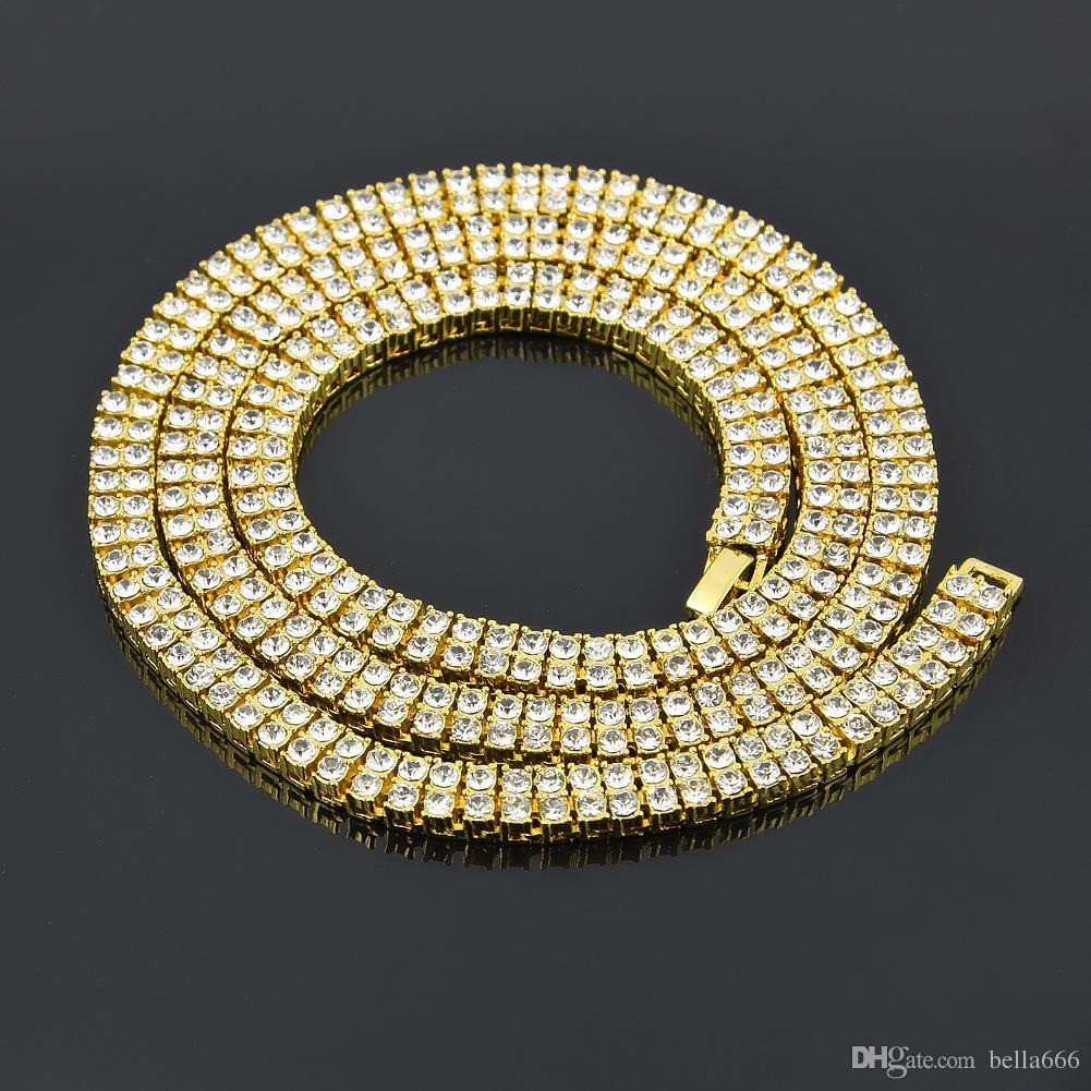 Homens liga de zinco 2 linhas Rhinestone colar pulseira Hip Hop cadeia Bling Rock Punk Jewelry Set