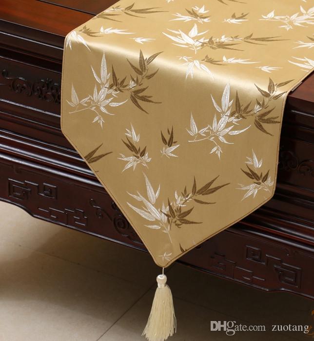 Extra Long 120 pollici di bambù del jacquard Runner di lusso di fascia alta broccato di seta pranzo 300x33cm Tovaglia Wedding Party Decoration di Natale