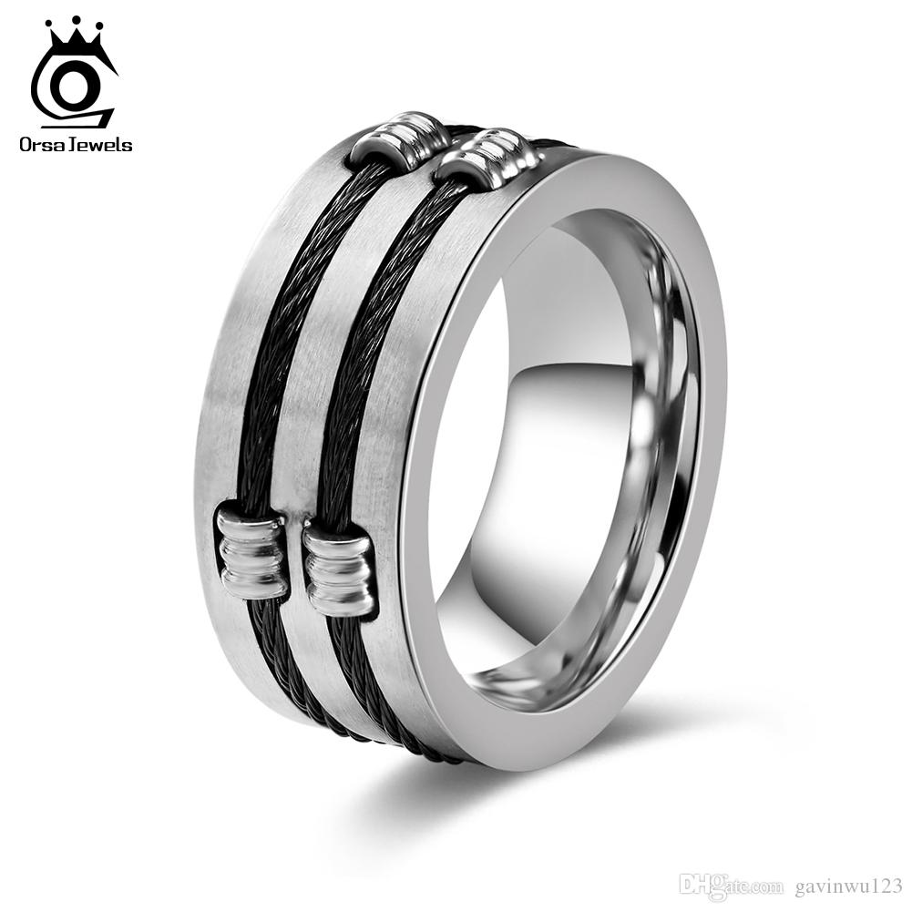 Punk Rock Stainless Steel Men Biker Rings Vintage With Wire Beads ...