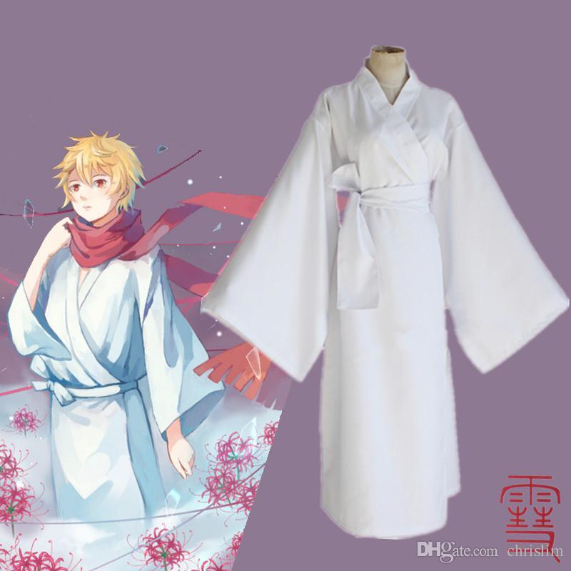 Japonês Anime Noragami traje Cosplay Yukine Traje para Adultos branco Japonês Tradicional Vestido + Cachecol por conjunto
