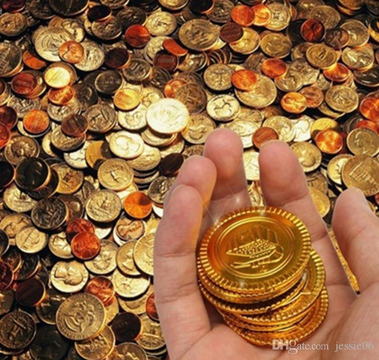 Plastic gold Pirate coins birthday Christmas holiday favor treasure coin goody party loot bag pinata filler toy favortheme decoration gift