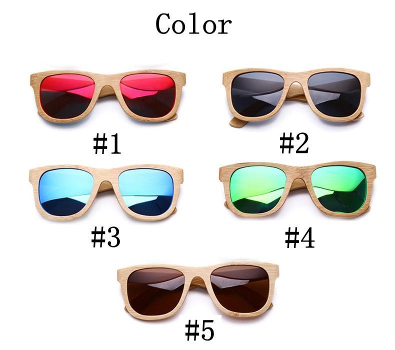 2017 Marque Designer hommes femmes bois de bambou lunettes de soleil Nouveau Polarisé Bleu Planche À Roulettes En Bois de Bambou Lunettes Rétro Vintage Lunettes