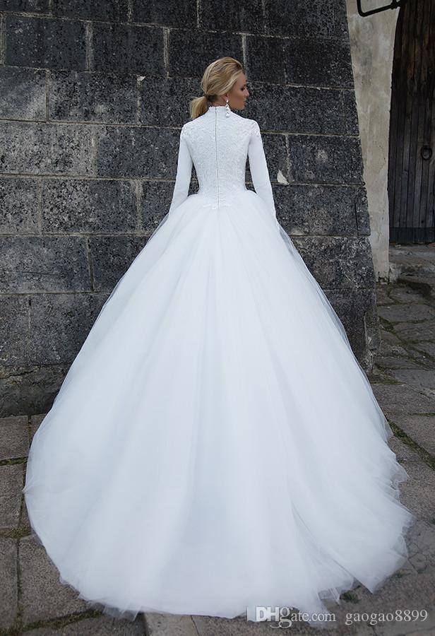 Muslim Lace Wedding Dresses A Line High Neck Long Sleeve Zipper Back Sweep Train Bridal Gown for Plus Size Wedding Party DTJ