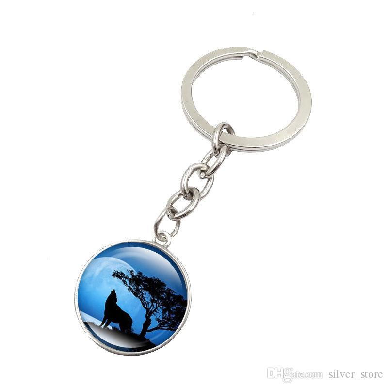 Good A++ Burst howling wolf moon gemstone key ring pendant jewelry key chain KR148 Keychains a