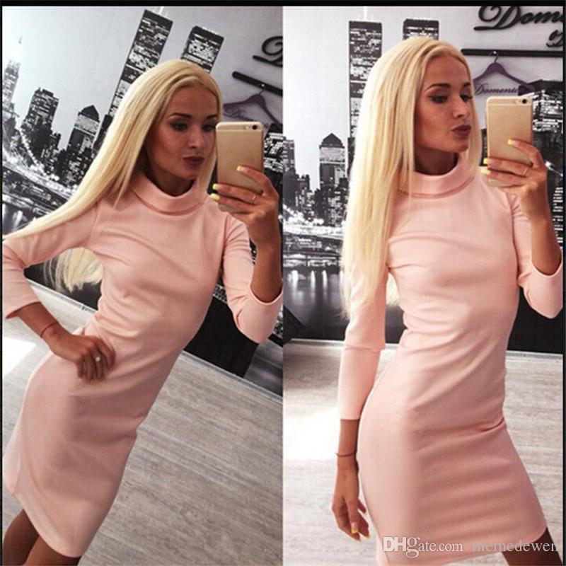 Neue Herbst 2017 Frauen kleiden heißen Verkauf Art und Weise Normallack-Selbstbearbeitungshalbhochkragen modales langes Hülsensatz-Hüftenkleid QF-001 an