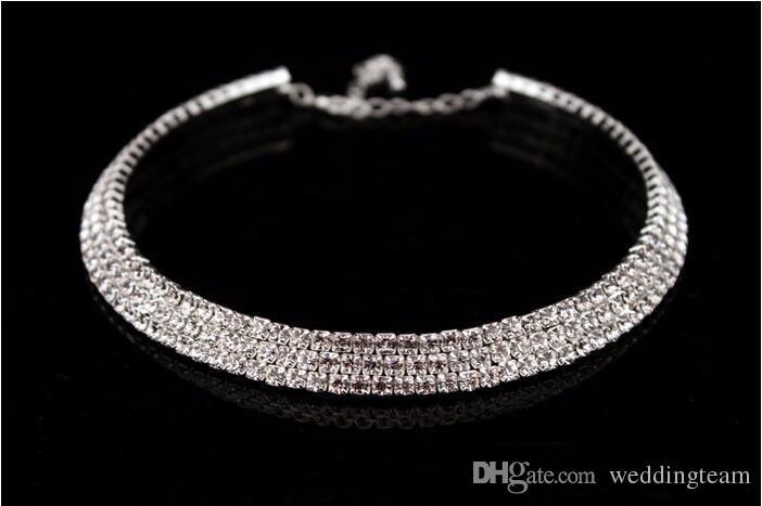 Novia vendedora caliente Classic Rhinestone Crystal Choker collar pendientes y pulsera Conjuntos de joyería de boda Accesorios de boda Joyería nupcial