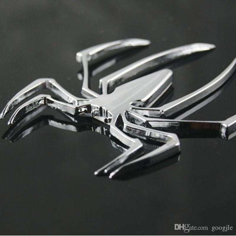 Araba Styling Aksesuarları 3D Metal Sticker Krom Örümcek Şekli Amblem Logosu Motosiklet Çıkartması Audi Jeep Opel Skoda Benz Ford