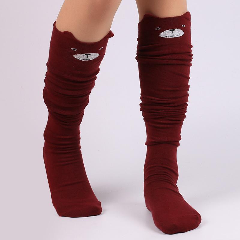 0f5b1f495bf Wholesale- Women Fashion Girls Lovely Cat Knee-length Long Socks Leg ...