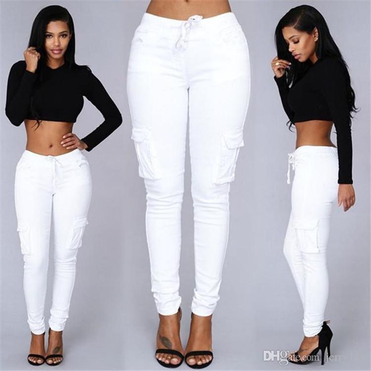 Pantaloni multi tasche casual da donna a i Pantaloni a vita bassa con allacciatura a vita bassa Pantaloni da donna Capris Pantaloni da donna LA310