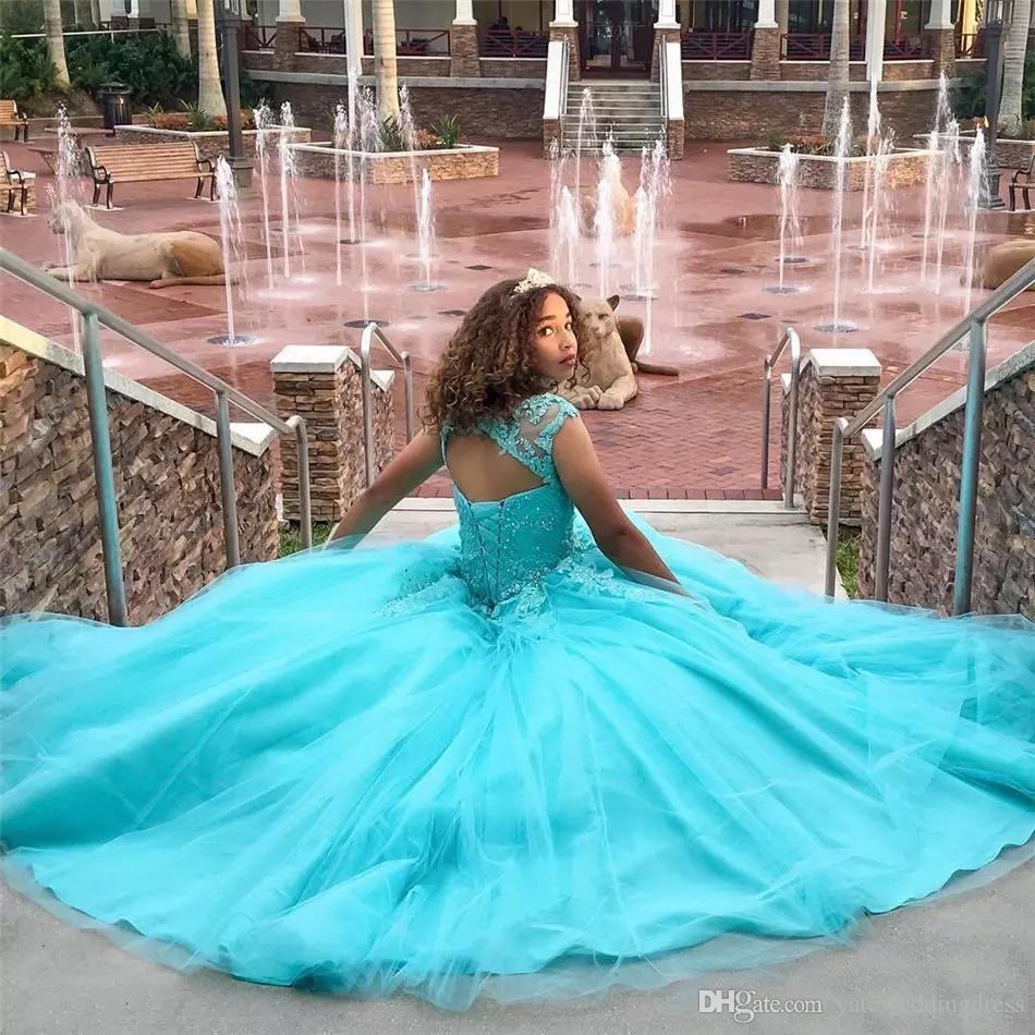 Gökyüzü Mavi Pageant elbise Jewek Sheer Boyun Dantel Aplike Örgün Parti Törenlerinde Ile Geri Dantel-Up Katmanlı Custom Made Abiye giyim Güzel 2017