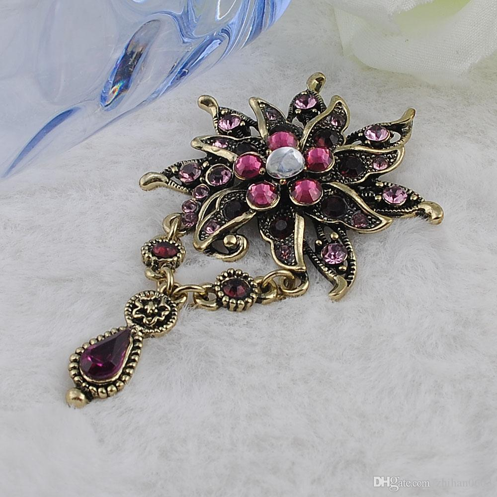 Nuovo arrivato moda retrò lega spilla di strass in resina a forma di fiore femminile spille monili delle donne