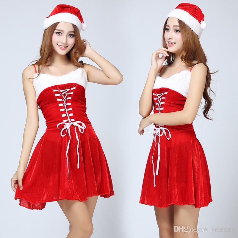 New Mascot Women Christmas Dress Sexy Ladies White Black Santa Costume Women Mrs Party Fancy Two ...