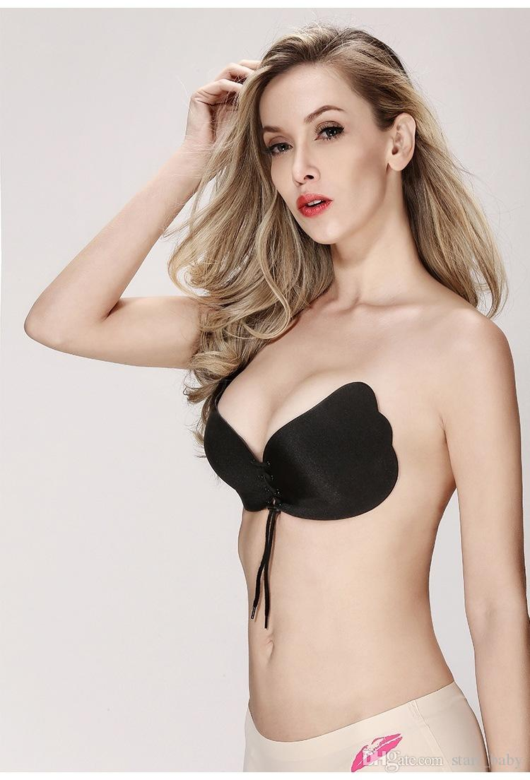 Frauen Silikon-BH-Körbchen für rückenfreies Kleid Invisible Push-Up-selbstklebende vordere Fliege Büstenhalter Strapless Cup A B C