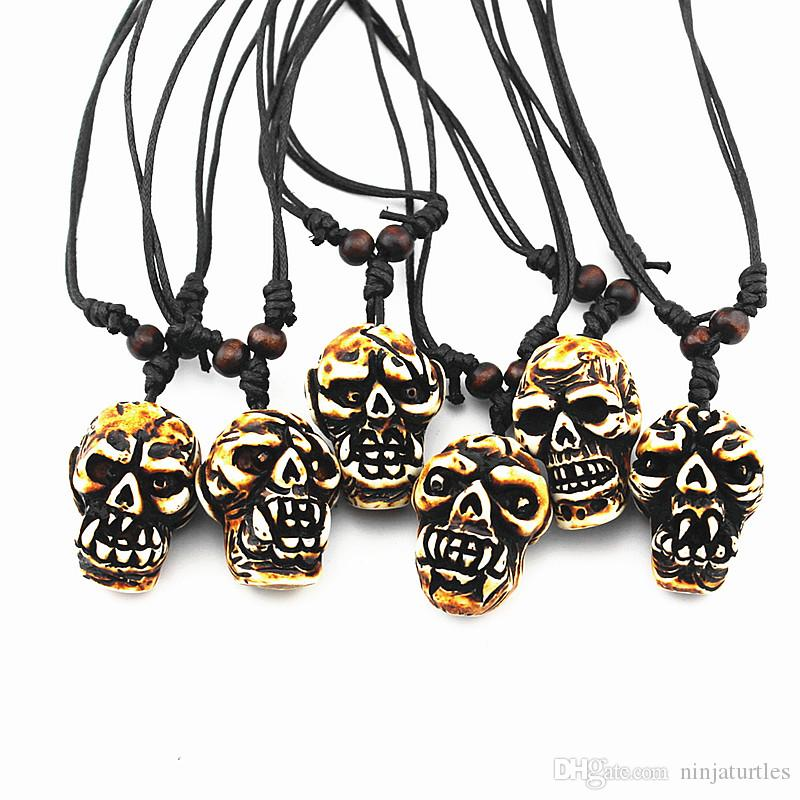 2020 Cool Men Womens Mixed Styles Faux Yak Bone Carved Horror Devil Skull Pendant Necklace Halloween Skull Necklace Amulet Gift Mn600 From Ninjaturtles 5 55 Dhgate Com