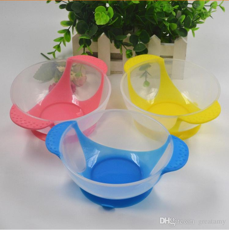 New Style Baby Kids Feeding Lid Training Bowl Spoon Cartoon Binaural Tableware Children Plate Sucker Wall Suction Antiskid Dishes