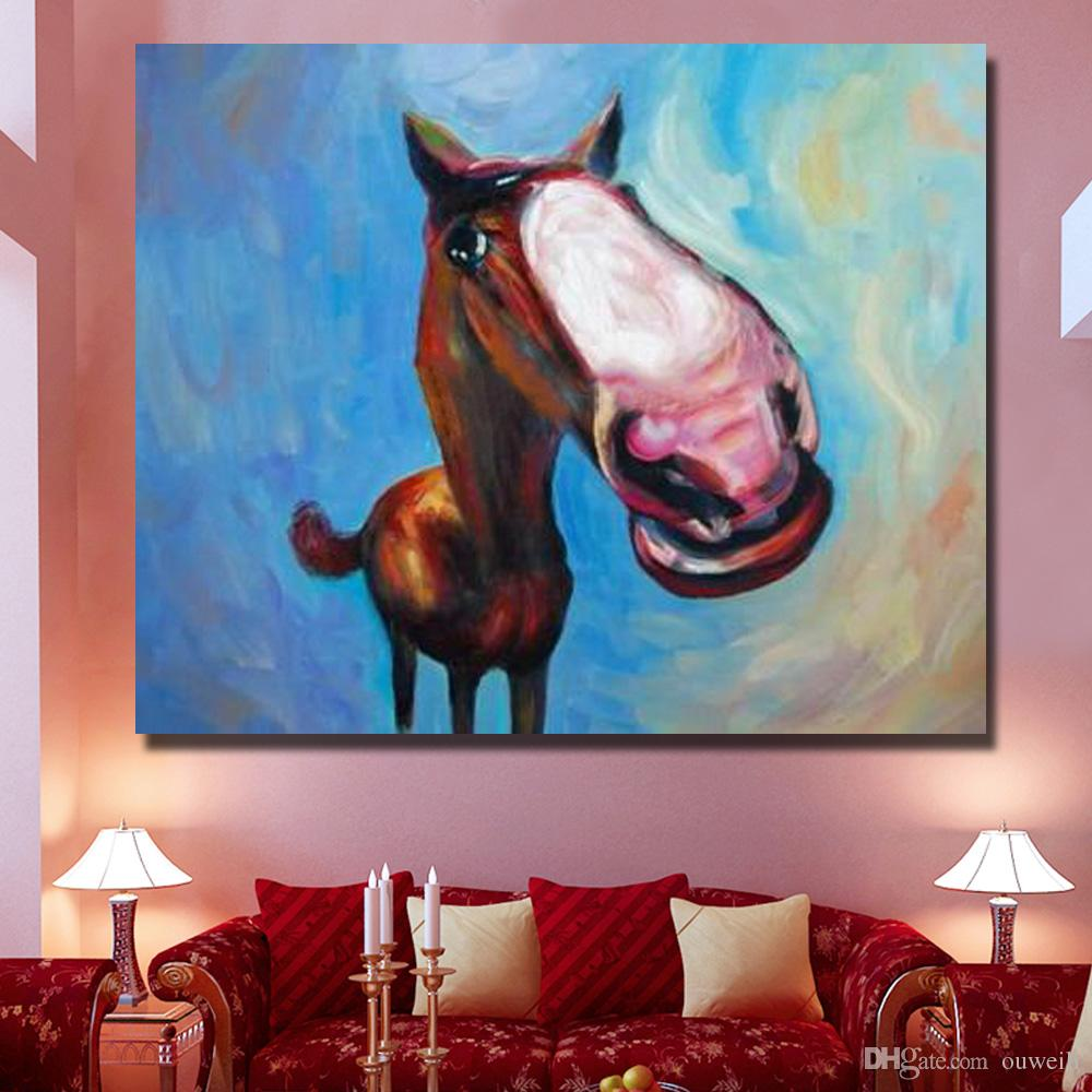 by hand painted cartoon horse famouse Chinese artists paint oil painting Cheap Modern Canvas Art