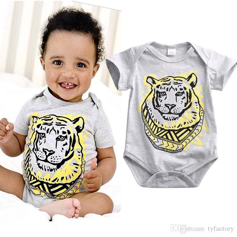 fa6838f47 2017 Fashion Newborn Baby Girls Boy Tiger Organic Gray Romper Short ...