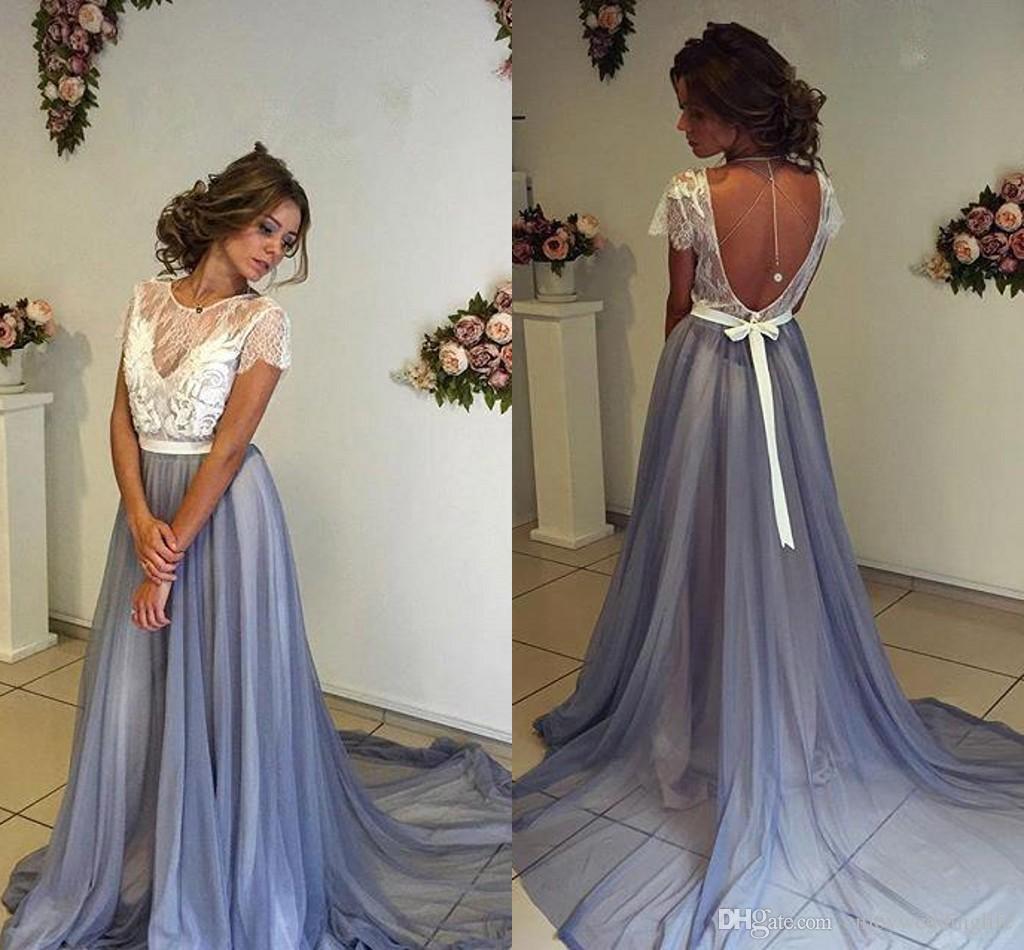 Discount 2017 Boho Summer Beach Wedding Dresses Short Sleeve Lace ...
