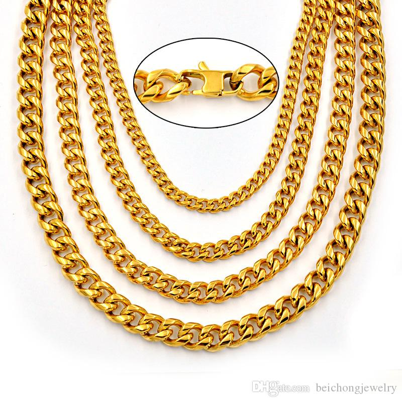 Beichong Gold Color Double Curb Link Rombo Fashion Mens Chain Boys 316L Stainless Steel Necklace for Gift