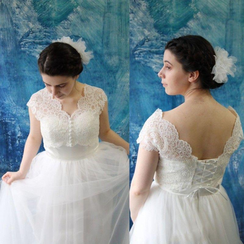 2018 Plus Size Bridal Jacket With Cap Sleeve Bolero V Neck Lace Up ...
