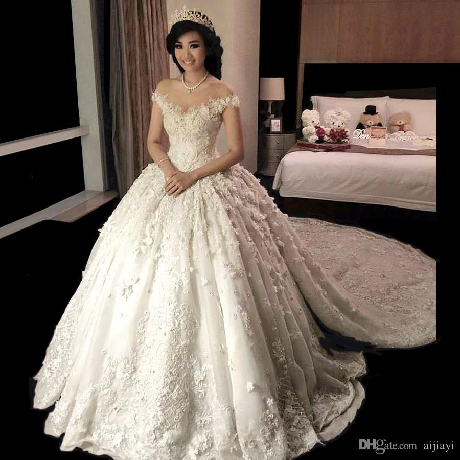 Hot Sale 2017 Lebanon Lace Wedding Dresses Turkey With Chapel Train ...