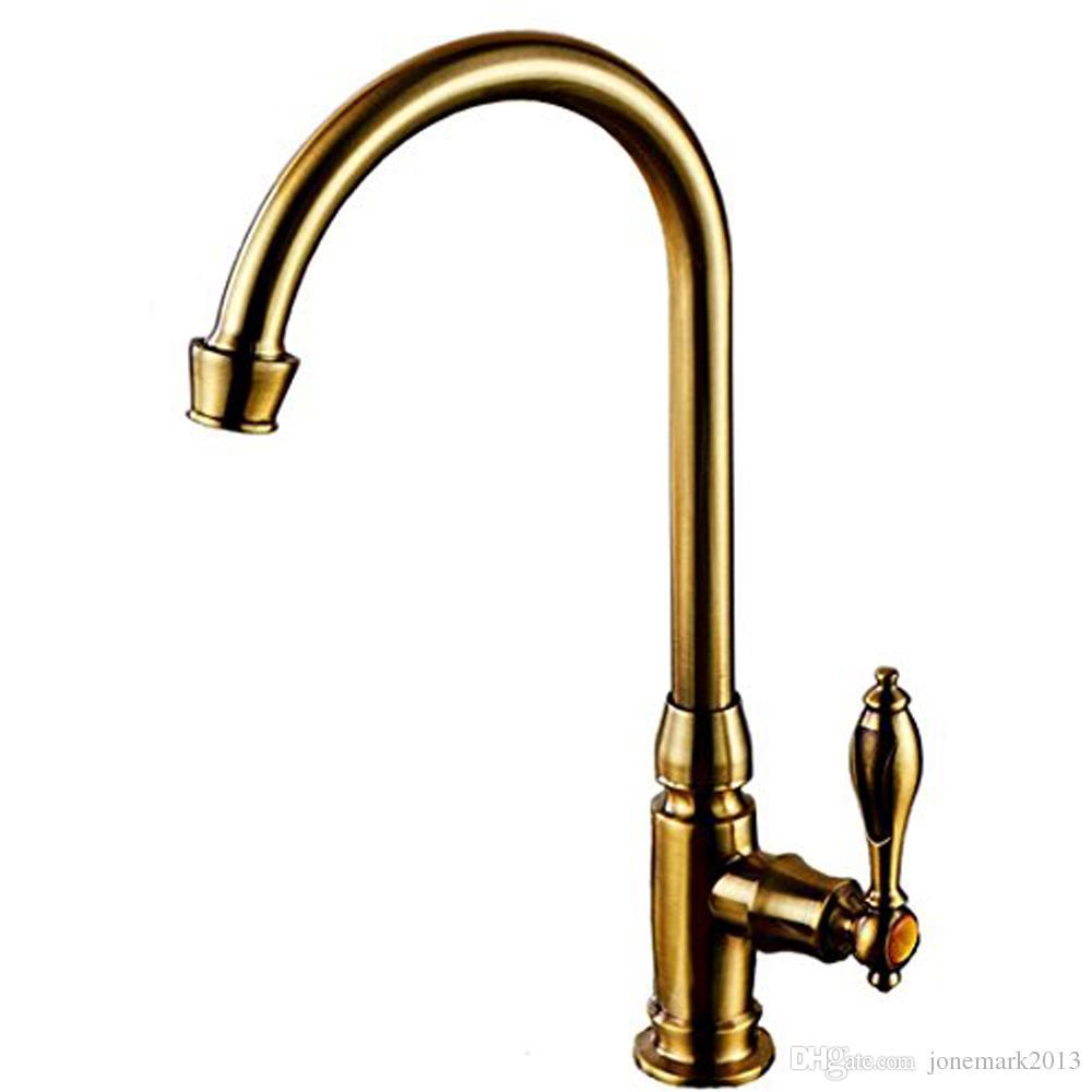2017 Rushed Torneira Para Cozinha Torneira De Cozinha Antique Copper Single Cold Faucet Kitchen Vertical Wall Water Pool Sink