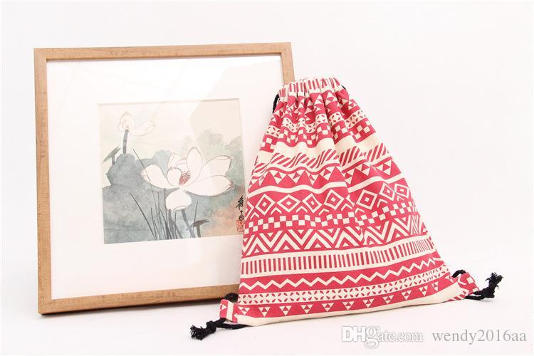 2017 neue Ankunft Rucksack Stil FashionGeometric Frauen Schulter Leinwand Dame Striped Kordelzug Umhängetasche Baumwolle Stoff Handtasche 4 Farben