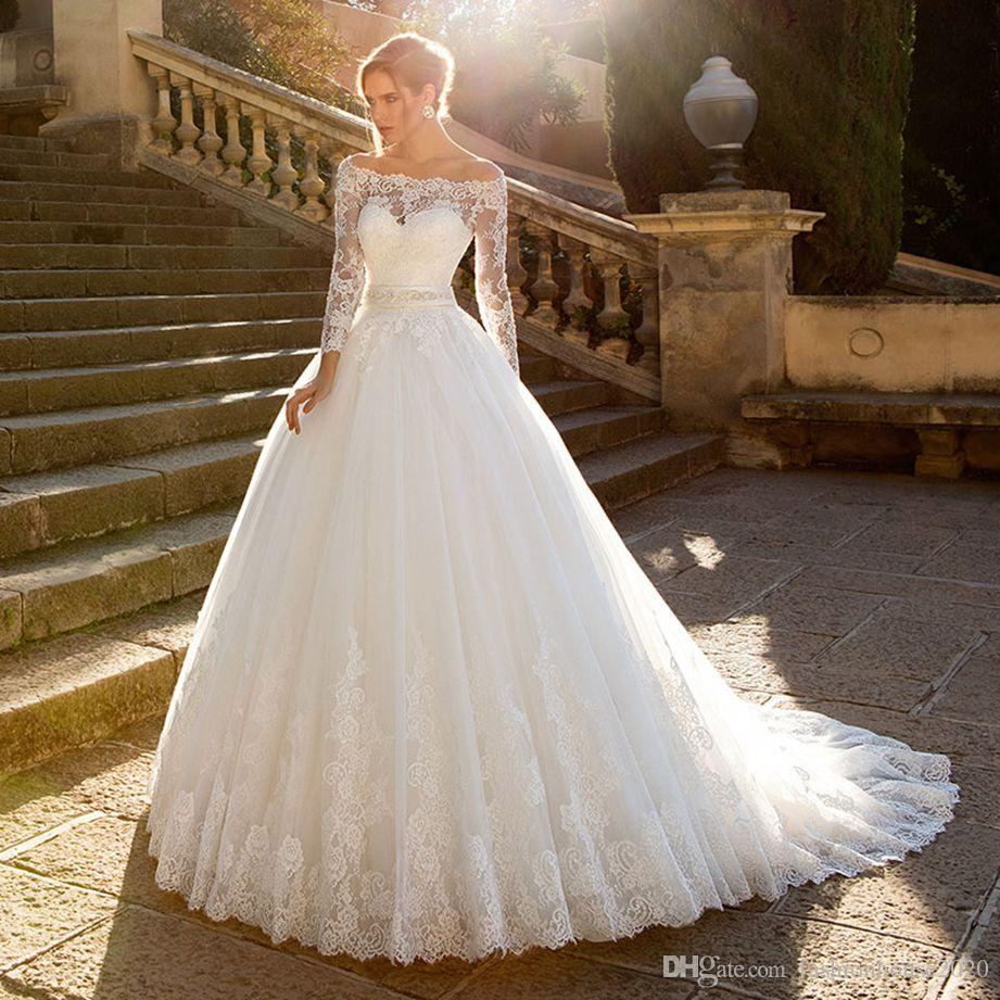 b081f3e3502 2018 Modest Off Shoulder Lace Appliques Wedding Dresses Long Sleeve Crystal  Belt Princess Tulle Ball Gown Sweep Trian Plus Size Bridal Gowns Bridal Gown  ...