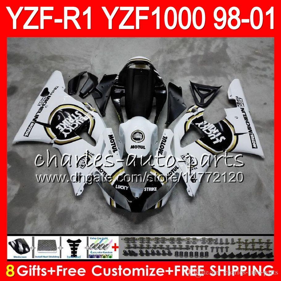 8Gift Body For YAMAHA YZF 1000 R 1 YZFR1 98 99 00 01 61HM14 YZF1000 YZF R1 YZF-R1000 YZF-R1 1998 1999 2000 2001 white black Fairing
