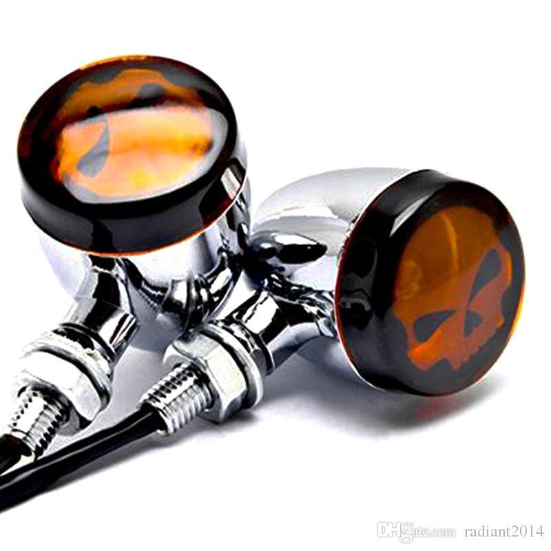 Motosiklet Dönüş Sinyali Işık Kafatası Vintage Harley Alaşım Bullet Siyah Amber Ampul Retro Motosiklet Dönüş Işıkları Göstergeleri Lambası
