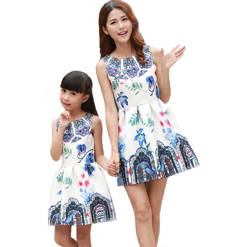 Mutter Tochter Kleider passenden Teenager Mädchen Kleid Retro Print Mama und mich Kleidung ärmellose Kleider Familie passenden Outfits