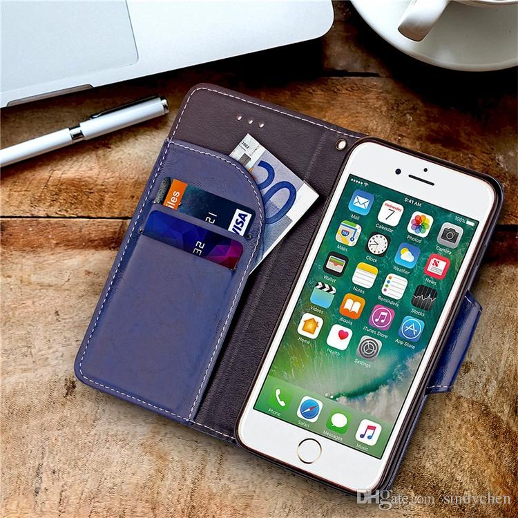 hot sale retro leather cases for iphone 8 iphone 7 plus 6 high quality PU wallet case with card slot DHL free