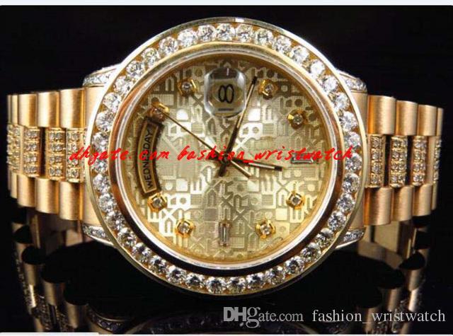 Montre de luxe en or jaune 18 carats Montre de luxe en or 36 mm Montre mécanique