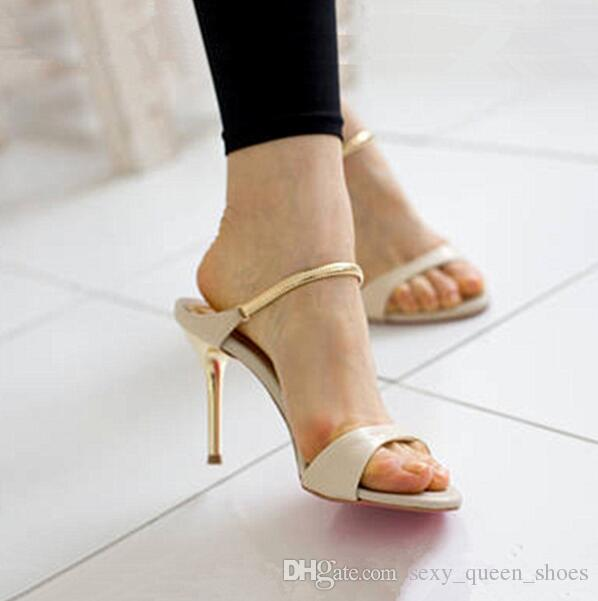 86d7652598e 2019 Gold Chain Vogue Office Shoes Women High Heeled Sandals Female Sexy  Black Summer Heels Beige Zapatos Mujer 9cm Girls Sandals White Sandals From  ...
