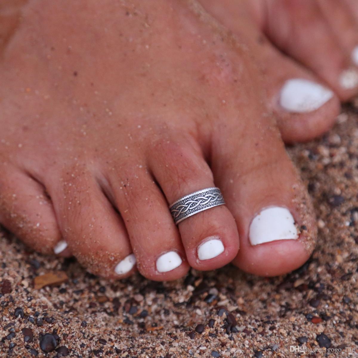 Sexy Frauen Dame Elegant Einstellbare Antike Versilbertem Metall Offenen Zehenring Fingerring Fuß Ring Strand Schmuck