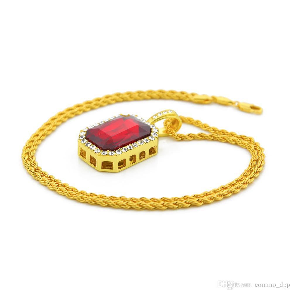 Gioielli hip hop Quadrato Ruby zaffiro Rosso Blu Verde Nero Bianco gemme di cristallo Collana pendente 24 pollici Catena d'oro gli uomini Gioielli di moda