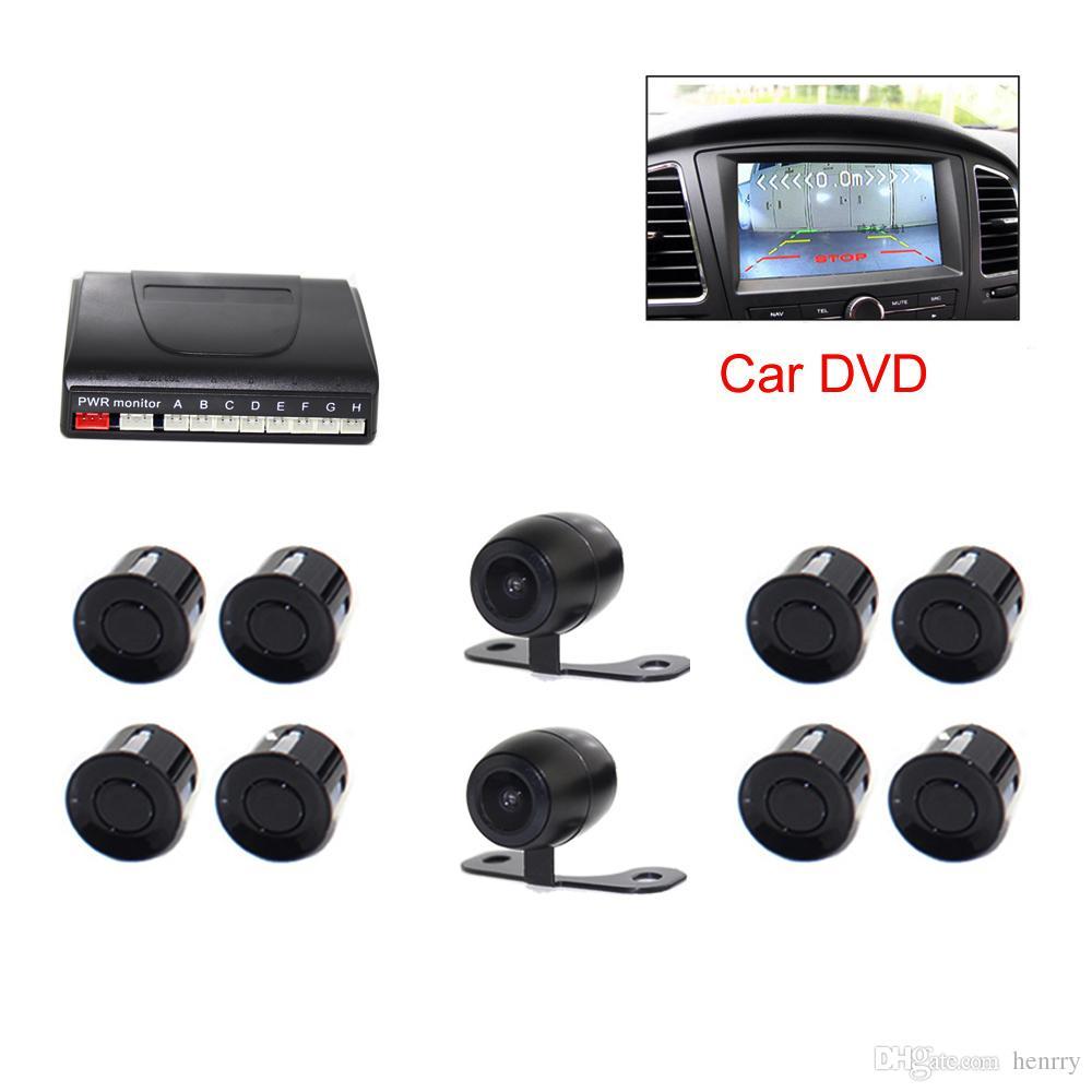 Car DVR Video Parking Sensor PZ600-8 8 Sensors 2 Camera Front Rear TFT LCD DVD Rearview Mirror Monitor BIBI Barrier Distance DHL
