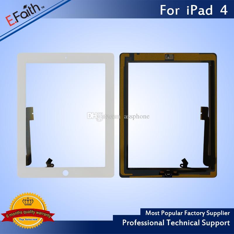 Articolo caldo: digitalizzatore touch screen bianco iPad 4 con casa Butoon + adesivo Spedizione gratuita DHL