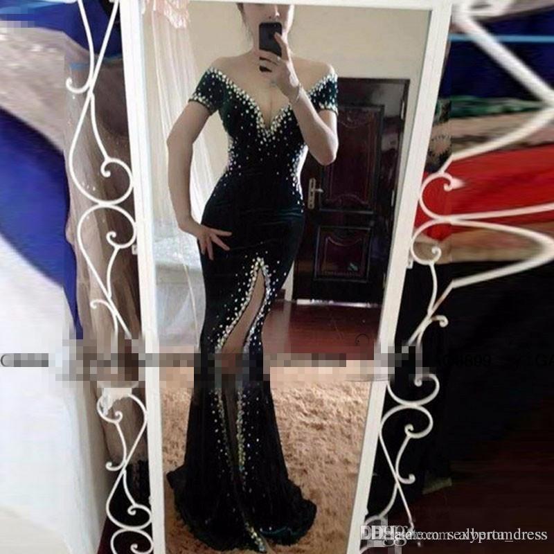 Sexy Black Velvet Mermaid Prom Dresses Off The Shoulder Crystals Dubai Cut Side Split Formal Evening Pageant Gowns 2017 Formal Party Vestido