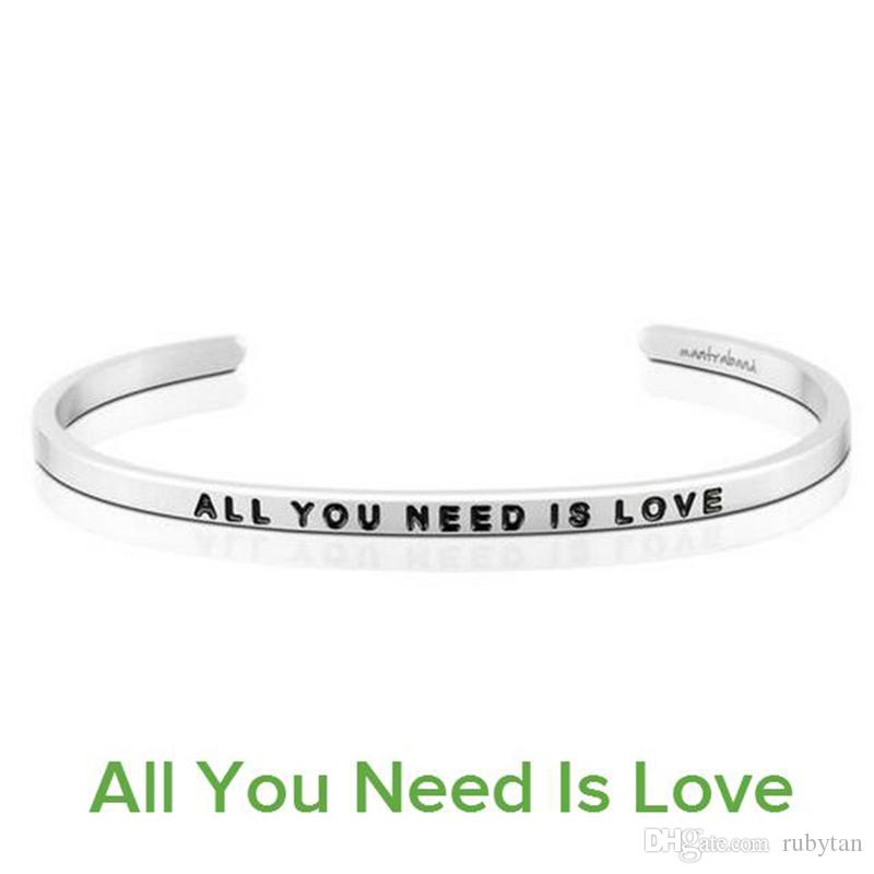Gorgeous Stainless Steel Bar Engraved ALL YOU NEED IS LOVE Positive Inspirational Quote Cuff Bracelet Bangle For women Men