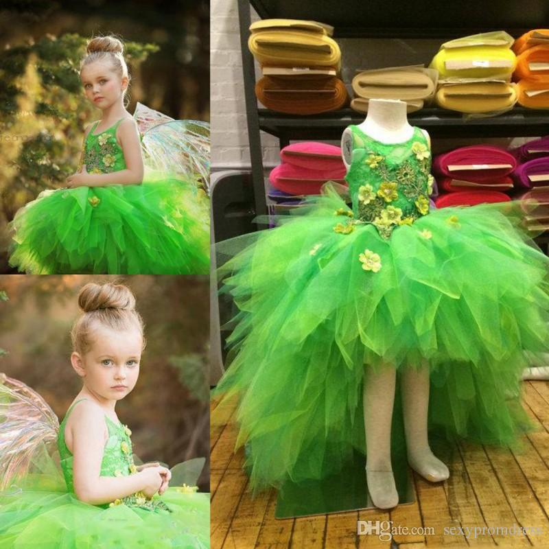 5c99c0e9b0030 Green High Low Girls Pageant Gowns Colorful Flora Appliques Tulle Ball Gown  Flower Girl Dresses For Wedding Tiered Baby Formal Party Dress