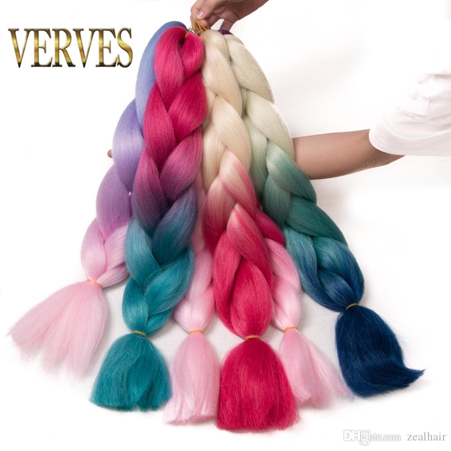 VERVES 100g/pcs synthetic hair Extensions Purple Braiding Hair ombre Two Tone High Temperature resistance Fiber expression braiding hair