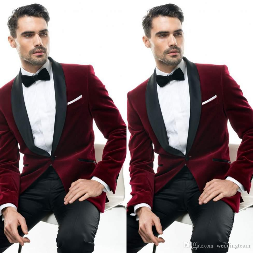 Fashion Burgundy Wedding Tuxedos Slim Fit Suits For Men Jacket And Pants  Groomsmen Suit Two Pieces Cheap Prom Formal Suits With Bow Tie Men Linen