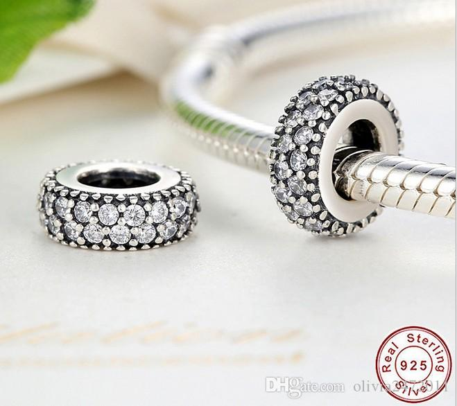 Authentic 925 sterling silver Beads Spacer Clear Double CZ Diamond Charms Fit Bracelet DIY Jewelry Accessories YZ