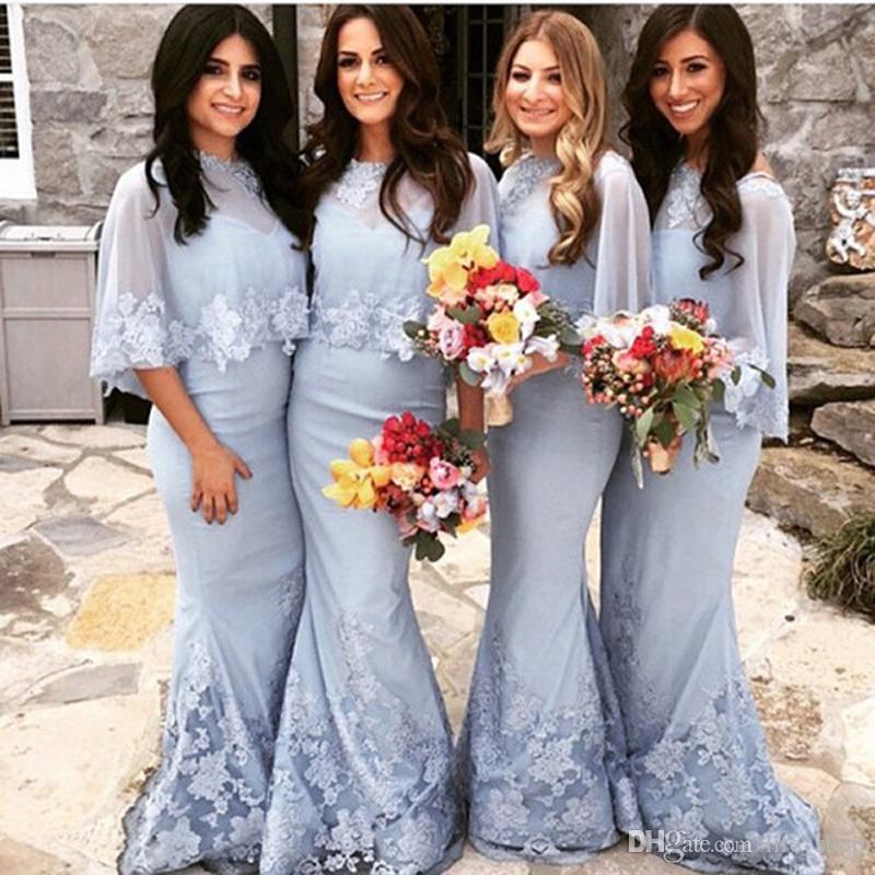 Elegante sirena larga dama de honor vestidos azul claro encaje aplique sweep tren bodas vestido de fiesta dama de honor