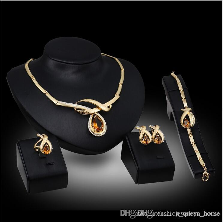 12set Austrian Crystal Hollow Design Jewelry Set Women's Gold Color Wedding Leaves Necklace Earrings Bracelet Ring Sets F10346